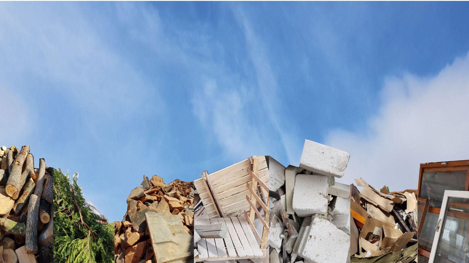 Abfallarten Holz, Grünabfälle, Bauschutt, Erde und Baumisch