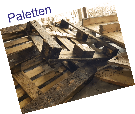 Paletten und Kisten: unbehandelte Hölzer